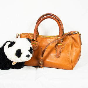 Large tan brown J. Crew satchel